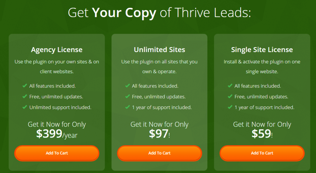 Pricing thrive leads