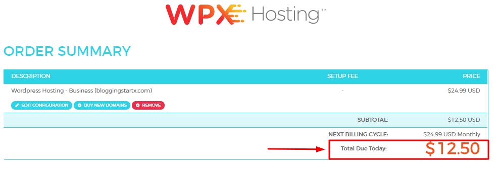WPX hosting order summery